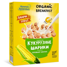 """Готовый завтрак """"Кукурузные шарики"""", 100 гр, Компас здоровья"""